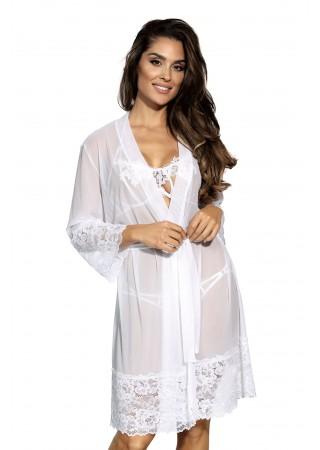 Gaisīgs halāts ar mežģīnēm balts V-8850 Axami Naktskrekli, Pidžamas, Halāti Greetha