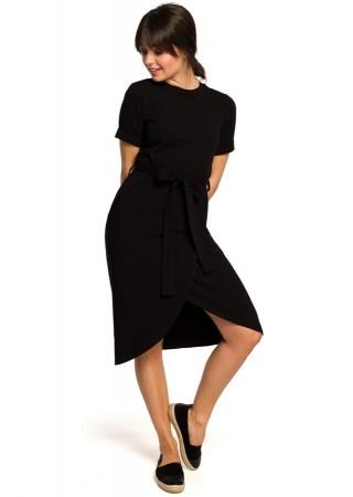 Ērta kokvilnas kleita melna B118-black BE Kleitas Greetha