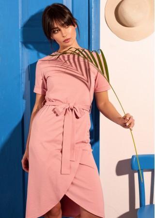 Ērta kokvilnas kleita rozā B118-pink BE Kleitas Greetha
