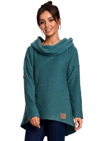 Oversize džemperis zils B131-turquoise BE Džemperi, Jakas Greetha