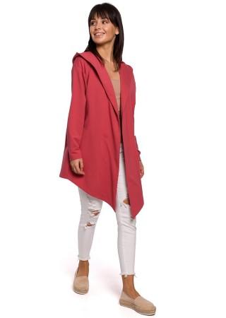 Stilīga jaka ar kapuci rozā B137-coral BE Džemperi, Jakas Greetha