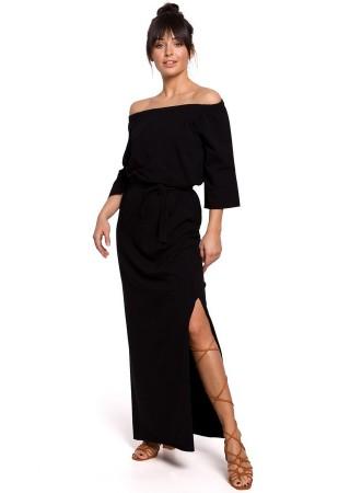 Garā kleita ar šķēlumu B146-black BE Kleitas Greetha