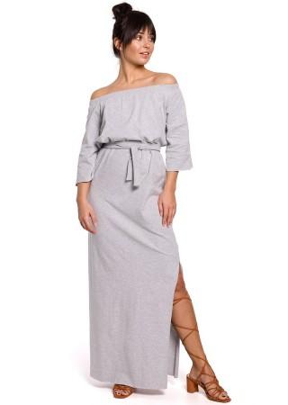 Garā kleita ar šķēlumu B146-grey BE Kleitas Greetha