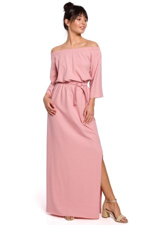 Garā kleita ar šķēlumu B146-pink BE Kleitas Greetha