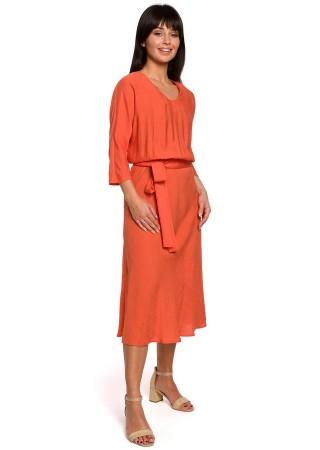 Eleganta kleita ar jostu B149-orange BE Kleitas Greetha