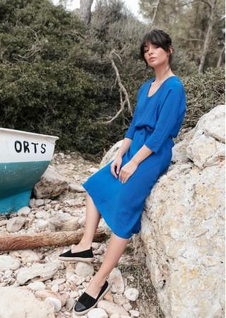 Eleganta kleita ar jostu B149-royal blue BE Kleitas Greetha
