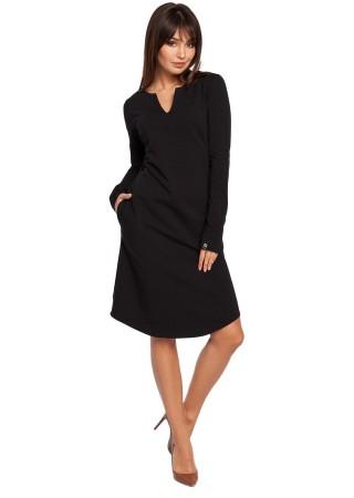 Kokvilnas kleita melna B017-black BE Kleitas Greetha