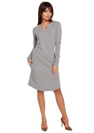 Kokvilnas kleita pelēka B017-grey BE Kleitas Greetha