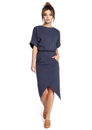 Stilīga kleita ar kabatām zila B029-blue BE Kleitas Greetha