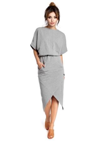 Stilīga kleita ar kabatām pelēka B029-grey BE Kleitas Greetha