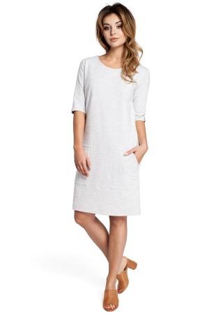 Kokvilnas kleita balta B033-stracciatella BE Kleitas Greetha