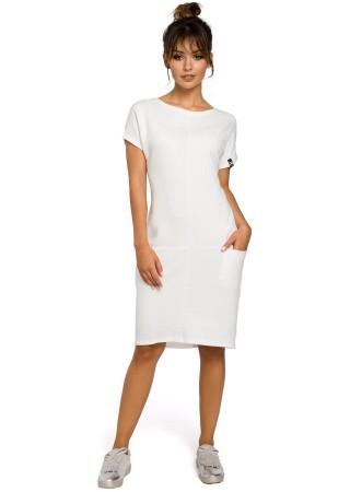 Stilīga brīva piegriezuma kleita balta B050-ecru BE Kleitas Greetha