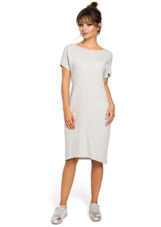 Stilīga brīva piegriezuma kleita pelēka B050-light grey BE Kleitas Greetha