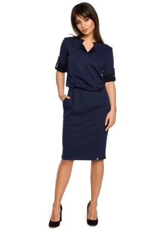 Kleita tumši zila B056-navy blue BE Kleitas Greetha