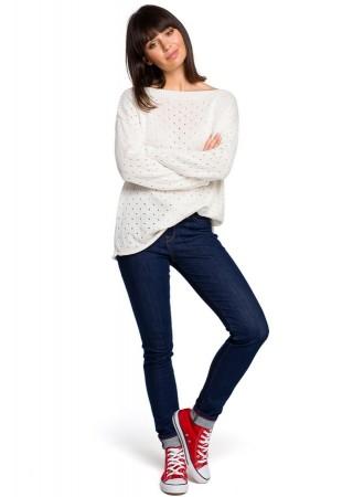 One size džemperis ecru balts BK019-ecru BE Knit Džemperi, Jakas Greetha