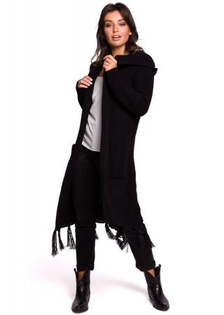 Adīta garā jaka melna BK032-black BE Knit Džemperi, Jakas Greetha