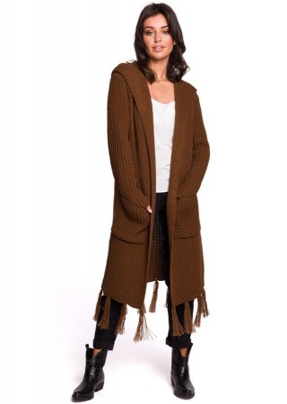 Adīta garā jaka brūna BK032-brown BE Knit Džemperi, Jakas Greetha