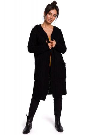Adīta garā jaka melna BK033-black BE Knit Džemperi, Jakas Greetha