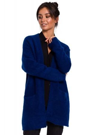 Adīta garā jaka safīra zila BK034-shappire BE Knit Džemperi, Jakas Greetha