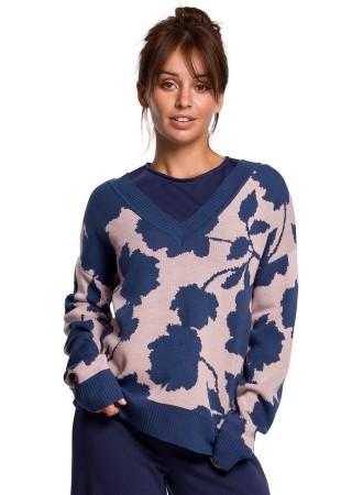 Džemperis ar rakstu zils BK056-model 2 BE Knit ADĪJUMI Greetha