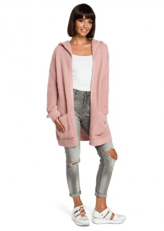 Adīta garā jaka rozā BK002-pink BE Knit Džemperi, Jakas Greetha