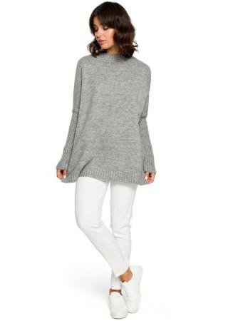 Adīts džemperis pelēks BK009-grey BE Knit Džemperi, Jakas Greetha