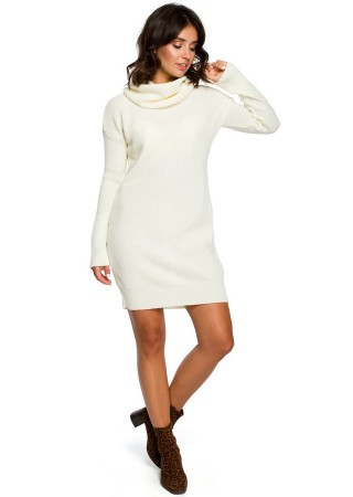 Adīta džemperkleita balta BK010-ecru BE Knit Kleitas Greetha