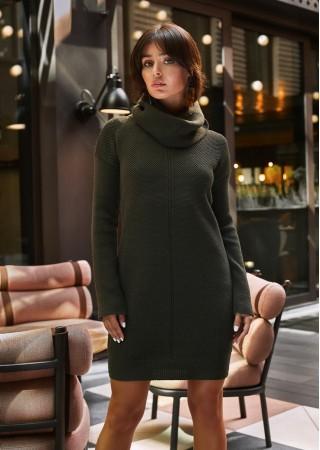 Adīta džemperkleita tumši zaļa BK010-khaki BE Knit Kleitas Greetha