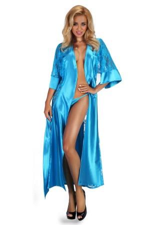Bouquet Elegants satīna halāts zils Erotiskā apakšveļa un aksesuāri Greetha