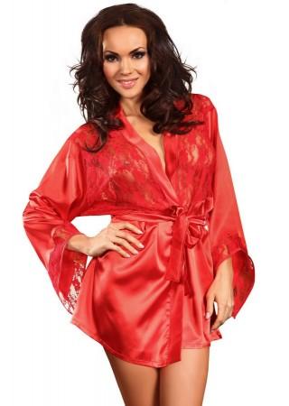 Prilance Satīna halāts ar mežģīnēm sarkans Erotiskā apakšveļa un aksesuāri Greetha