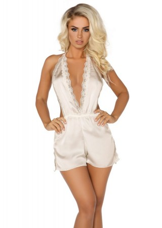 Shannon Elegants satīna rompers ecru Erotiskie apģērbi, Apakšveļa, Aksesuāri Greetha