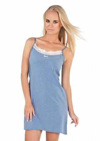 Bianca Kokvilnas naktskrekls zils ar mežģīnēm Naktskrekli un pidžamas Greetha
