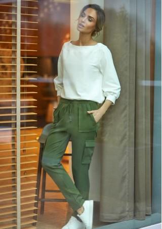 Stilīgas kargo bikses zaļas M425-green Moe Bikses, Legingi, Šorti Greetha