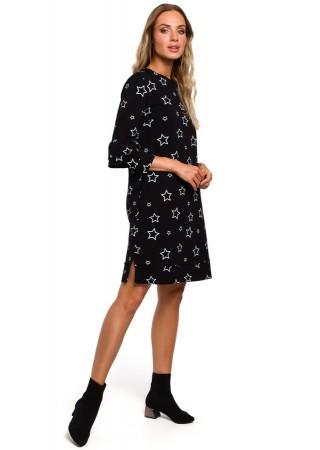 Ērta kleita ar apdruku melna M445-black Moe Kleitas Greetha