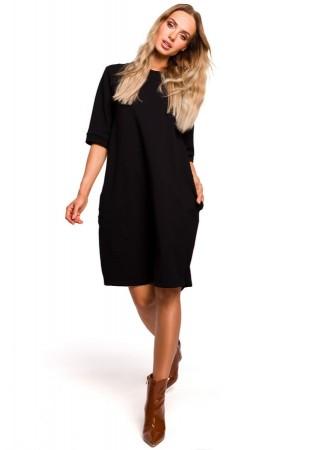 Oversize kleita melna M451-black Moe Kleitas Greetha