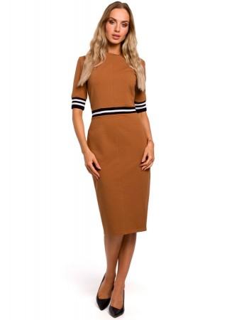 Stilīga kleita karameļu brūna M461-caramel Moe Kleitas Greetha