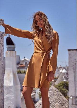 Wrap stila kleita kanēļu brūna M462-cinnamon Moe Kleitas Greetha