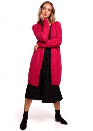 Adīta garā jaka ogu rozā M469-raspberry Moe Džemperi, Jakas Greetha