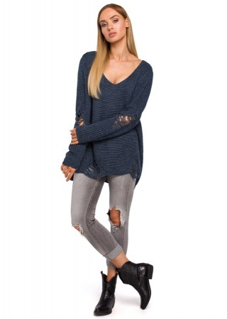 Oversize džemperis tumši zils M473-jeans Moe Džemperi, Jakas Greetha