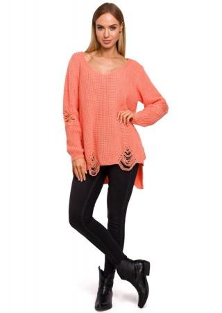 Oversize džemperis rozā M473-peach Moe Džemperi, Jakas Greetha