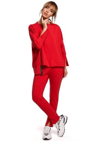 Stilīgs pulovers sarkans M491-red Moe Džemperi, Jakas Greetha