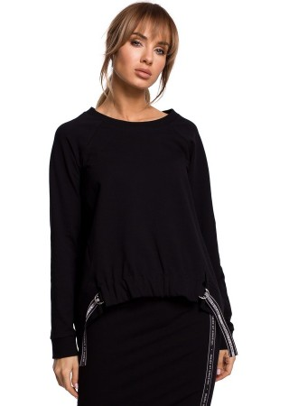 Stilīgs pulovers melns M492-black Moe Džemperi, Jakas Greetha