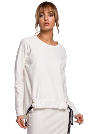 Stilīgs pulovers balts M492-ecru Moe Džemperi, Jakas Greetha
