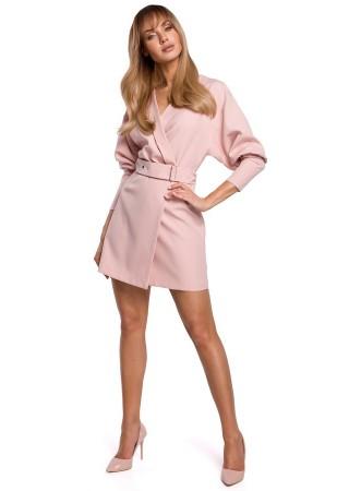 Stilīga minikleita ar jostiņu pūdera rozā M501-powder Moe Kleitas Greetha