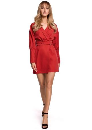 Stilīga minikleita ar jostiņu sarkana M501-red Moe Kleitas Greetha