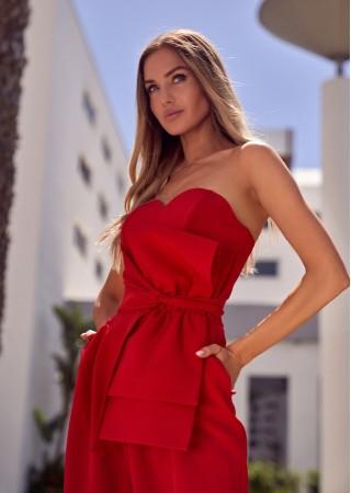 Elegants bikškostīms ar banti sarkans M571-red Moe Bikškostīmi Greetha
