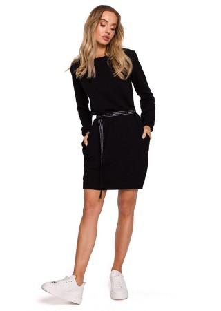 Pullover kleita ar jostiņu melna M590-black Moe Kleitas Greetha