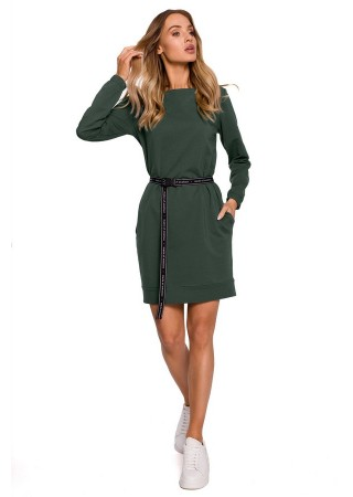 Pullover kleita ar jostiņu zaļa M590-military green Moe Kleitas Greetha