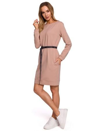 Pullover kleita ar jostiņu rozā M590-mocca Moe Kleitas Greetha