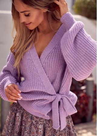 Adīts wrap stila kardigans violets M598-lilac Moe Džemperi, Puloveri, Jakas Greetha
